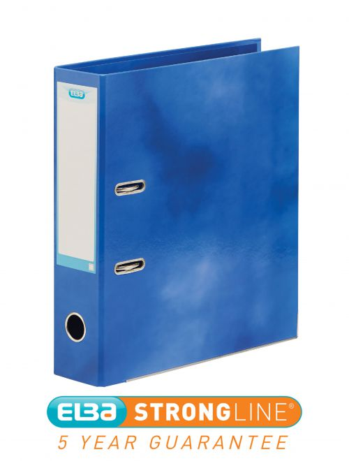 Elba Lever Arch File Laminated Gloss Finish 70mm Capacity A4+ Blue Ref 400021003