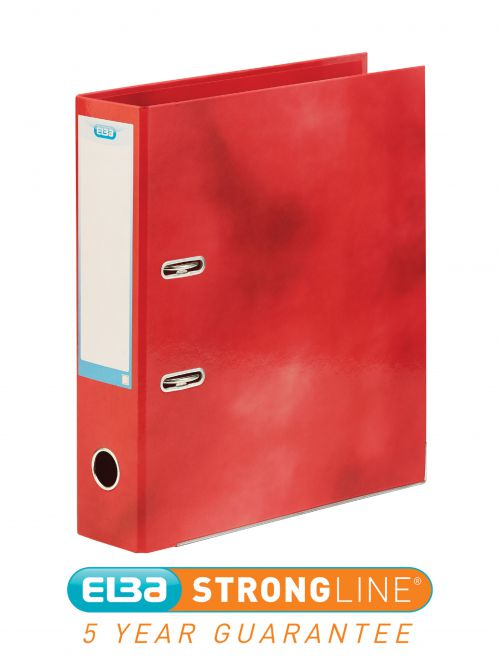 Elba Lever Arch File Laminated Gloss Finish 70mm Capacity A4+ Red Ref 400021004