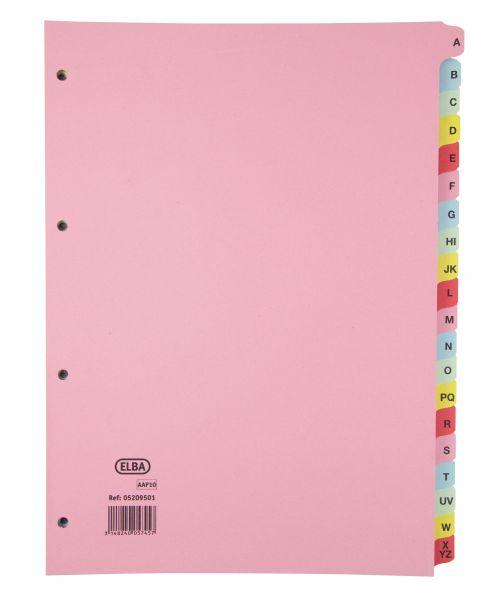 Elba Indices A4 A-Z 20 Part Coloured Card 400021450