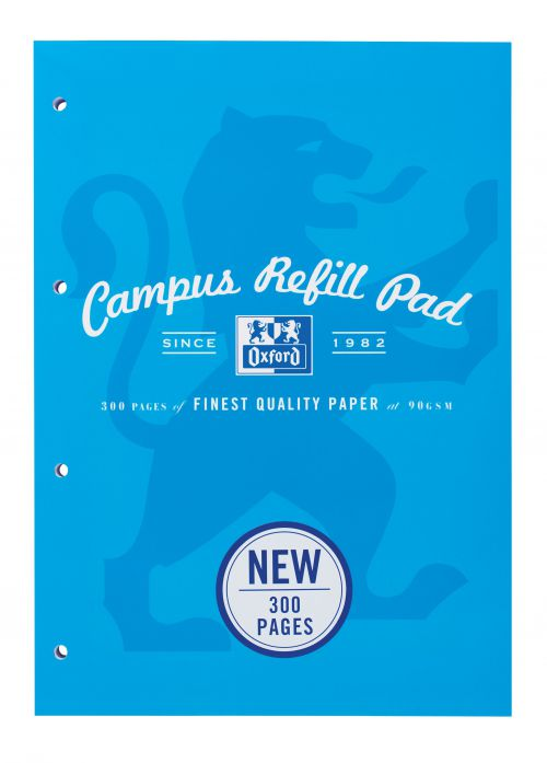 Oxford Campus Refill Pad Sbd 90gsm Ruled Margin Punched 4 Holes 300pp A4 Assorted Ref 400033050 [Pack 3]