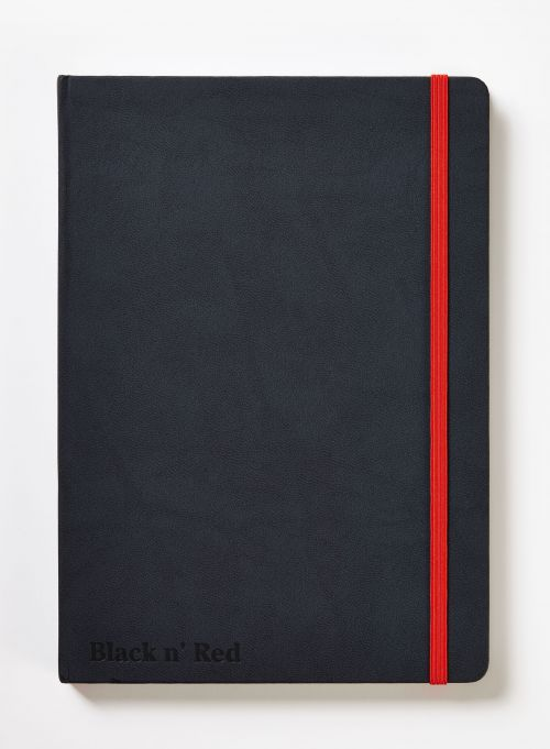 Black n Red Casebound Hardback Notebook A5 Black 400033673