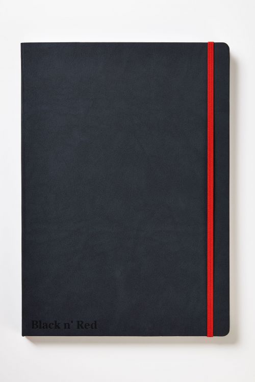 Black n Red Casebound Hardback Journal A4 144 pages