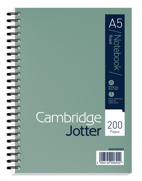 Cambridge Jotter Notebook Wirebound 80gsm Ruled and Perforated 200pp A5 Ref 400039063 [Pack 3]