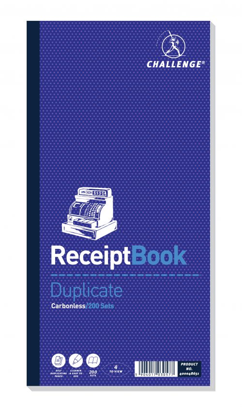 Challenge Duplicate Book Carbonless Receipt Book 4 Sets per Page 200 Sets 280x141mm Ref 400048651