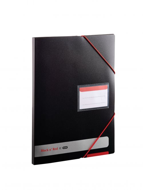 Black n Red by Elba Display Book Polypropylene 20 Pockets Elastic Straps A4 Opaque Ref 400050725