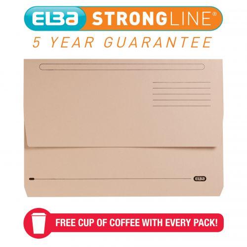 Elba StrongLine Document Wallet Manilla Foolscap Buff (Pack of 25) 400053600
