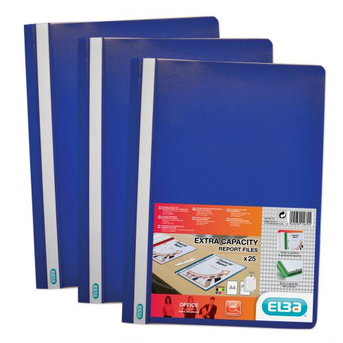 Elba A4 Report Folder Capacity 160 Sheets Clear Front Foolscap Blue Ref 400055030 [Pack 50]