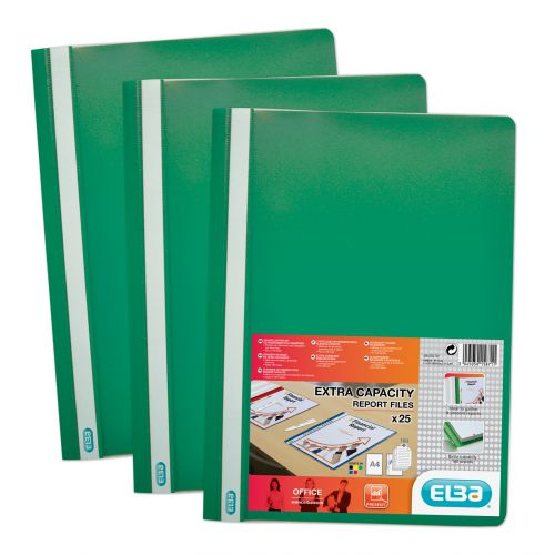 Elba Report Folder Capacity 160 Sheets Clear Front Foolscap Green Ref 400055031 [Pack 50]