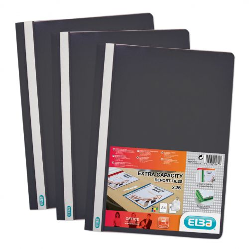 Elba Report Folder Capacity 160 Sheets Clear Front A4 Black Ref 400055033 Pack 50
