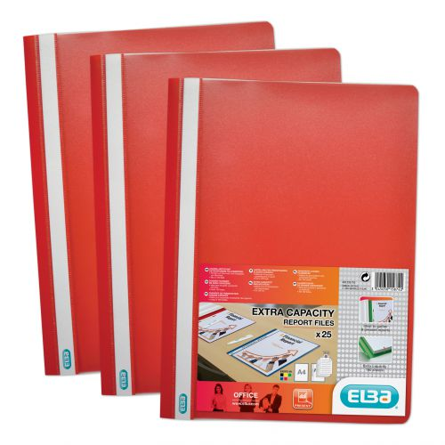Elba Report Folder Capacity 160 Sheets Clear Front Foolscap Red Ref 400055034 [Pack 50]