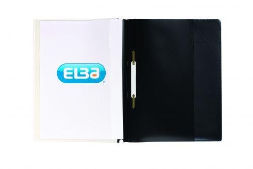 Elba A4+ Report File Capacity 160 Sheets Clear Front A4 Black Ref 400055036 [Pack 25]