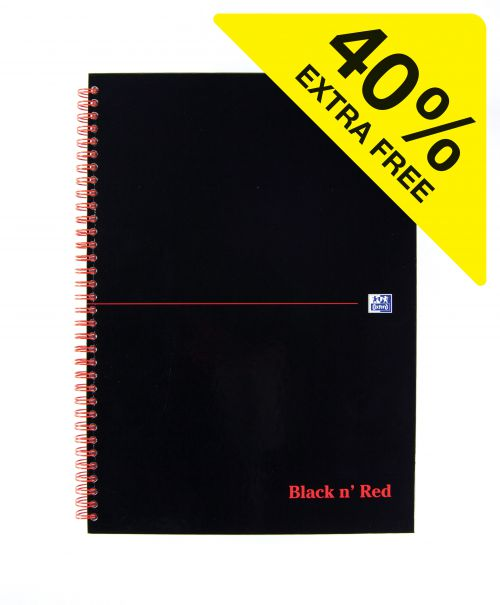 Black n Red A4 Wirebound Hardback Notebook PK5