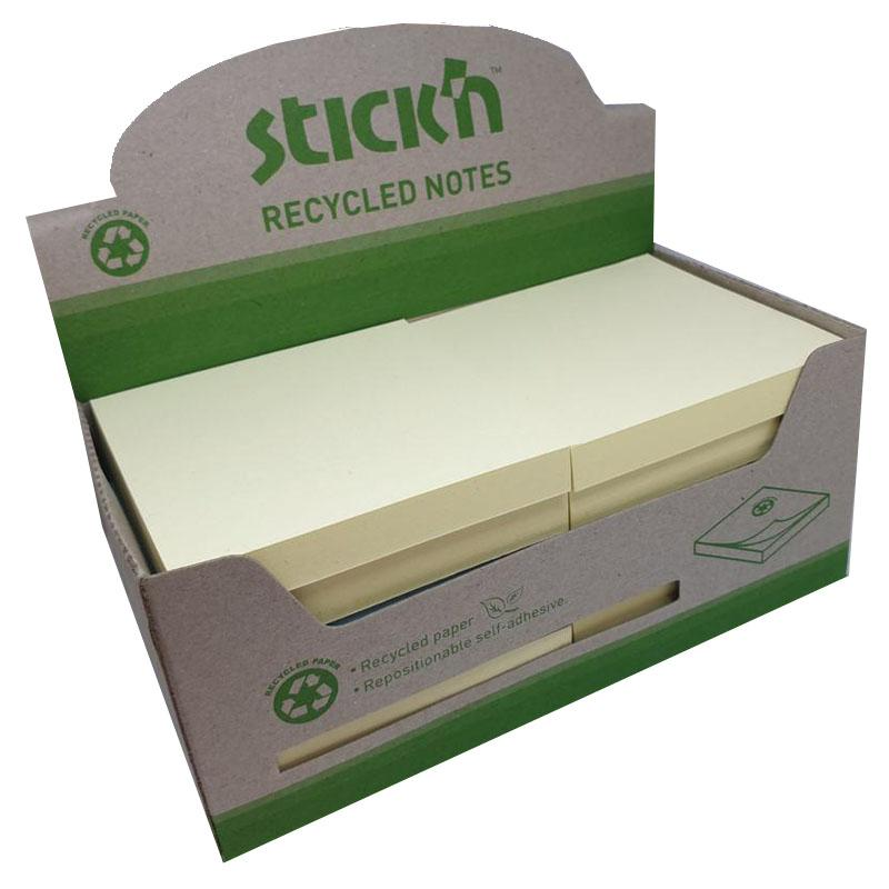Recycled Stickn Repositionable Notes 76x76mm Recycled 100 Sheets Yellow (Pack 12)