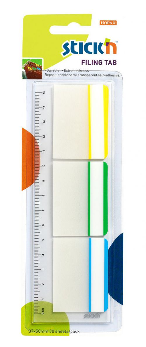 Value Stickn Filing Flags 37x50mm 30 Tabs 3 Colours 21360