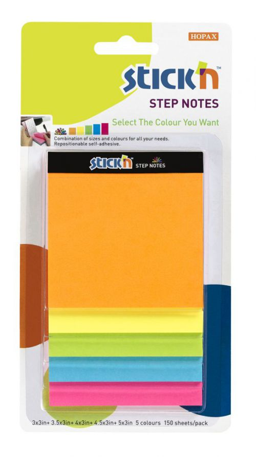 Magic Cube Sticky Step Notes Neon Assorted
