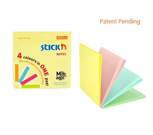 Stickn Magic Pad 76x76mm 4 Pastel Colours 100 sh/pad PK12