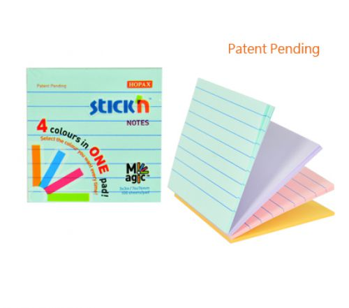 Stickn Magic Pad 76x76mm 4 Pastel Colours Lined PK12