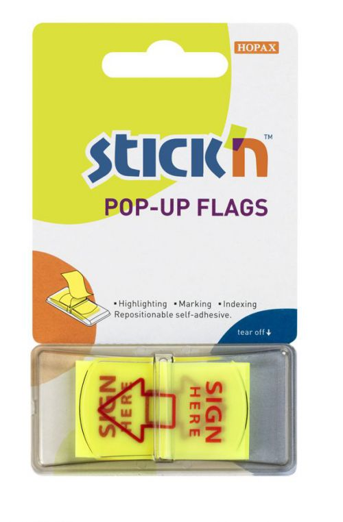 PopUp Flags 25mm Sign Here 50 Tabs Yllw