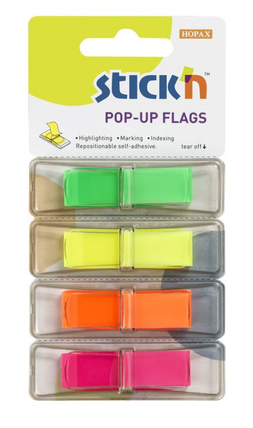 Value Stickn PopUp Flags 12mm 160 Tabs 4 Neon Colours 26017