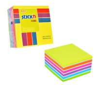 Stickn Sticky Notes Cube 76x76mm 400 Sheets Neon Colours