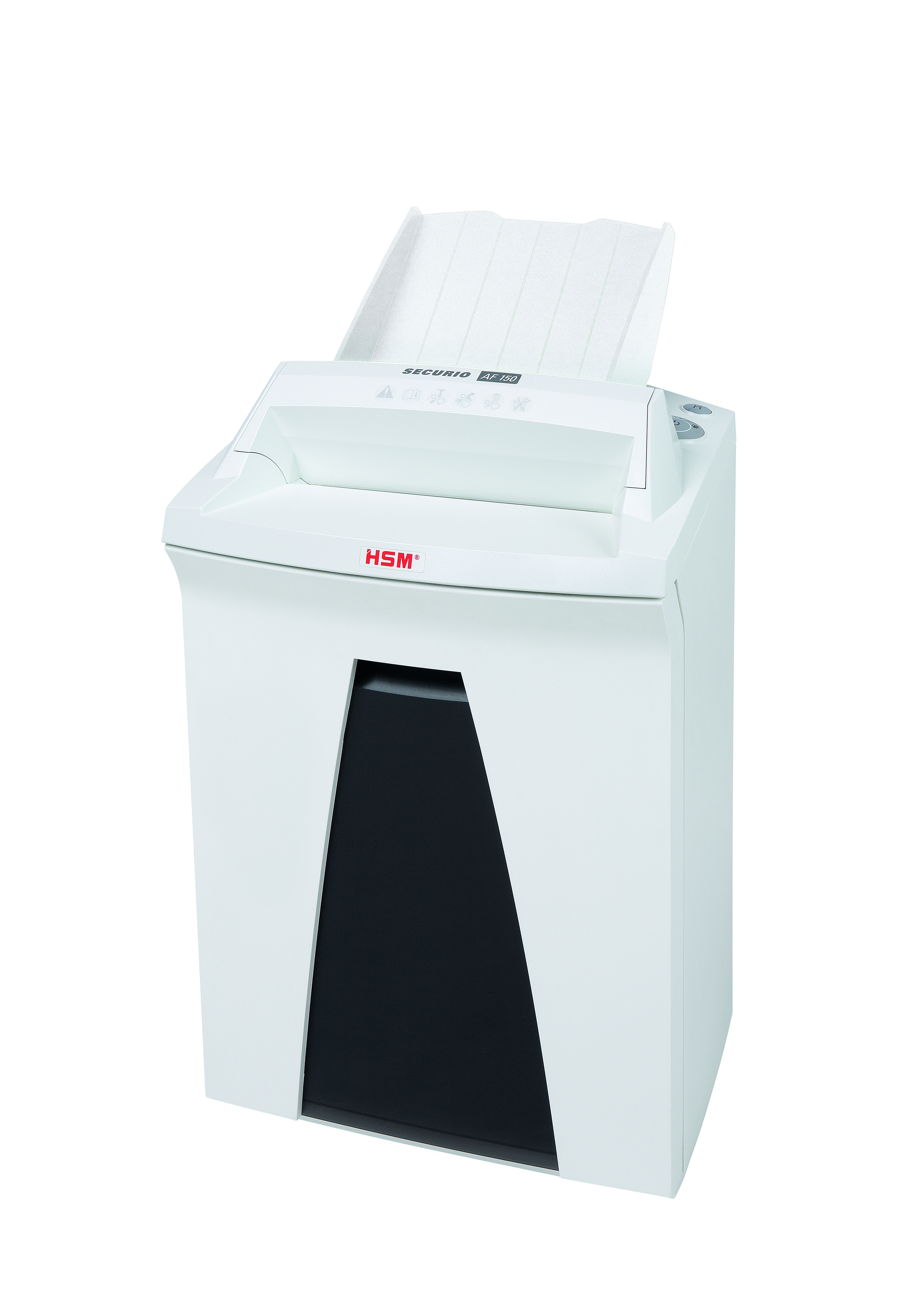 Securio AF150 autofeed shredder P4 34 litre bin