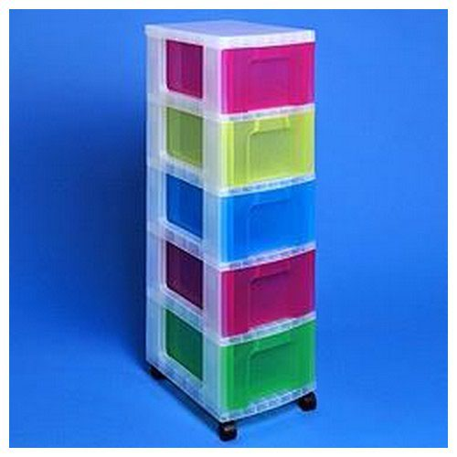 Really Useful Storage Tower Polypropylene 5x12L Drawers W300xD420xH690mm Clear/Assorted