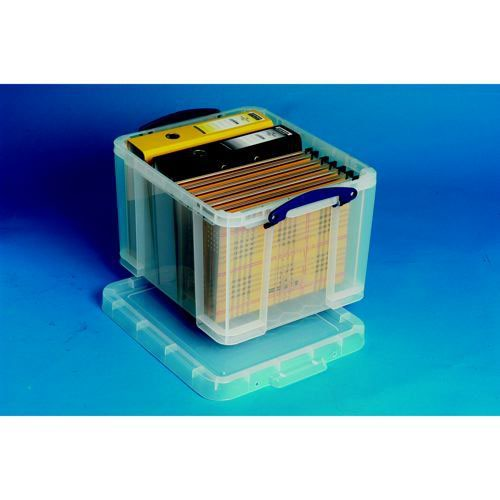 Really Useful Storage Box Plastic Lightweight Robust Stackable 35 Litre 390x480x310mm Clear