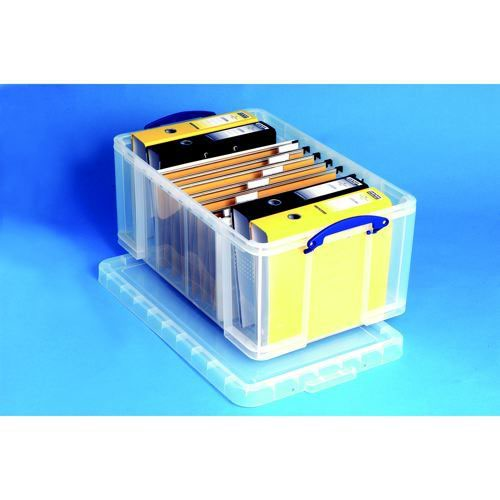 Really Useful Storage Box Plastic Lightweight Robust Stackable 64 Litre 440x710x310mm Clear