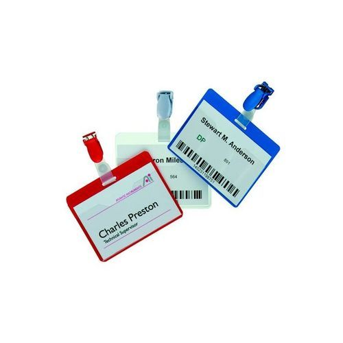Durable Name Badge with Clip 60x90mm Red 810603 (PK25)