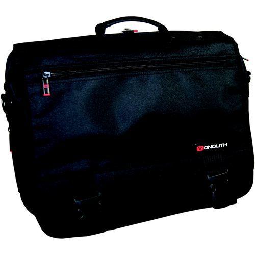 Monolith Expanding Flapover Briefcase Microfibre Material Black 3192