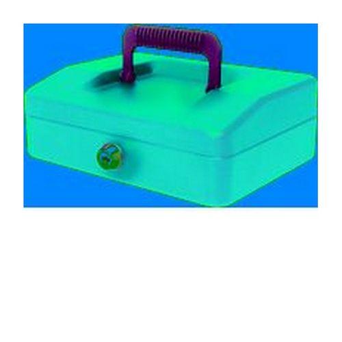 Helix 20cm Sloping Lid Cash Box Blue