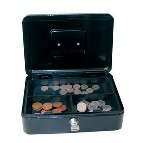 Cash Box with Simple Latch and 2 Keys Plus Removable Coin Tray 300mm Black