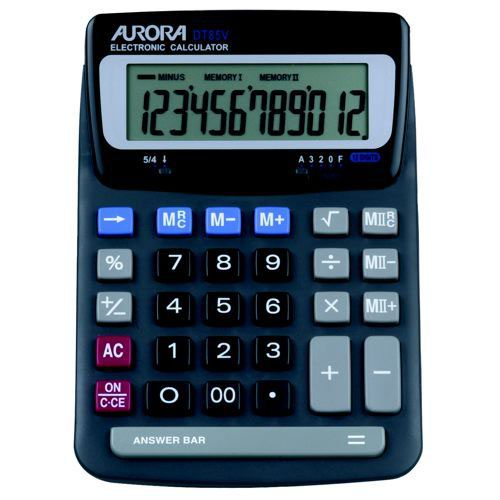 Aurora Grey/Black 12-Digit Desk Calculator DT85V