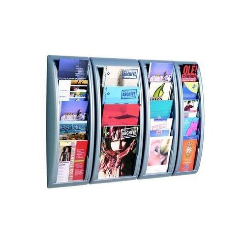 Fast Paper Quick Fit Literature Holder Wall-mount 4 x A4 Pockets 290x95x650mm Aluminium