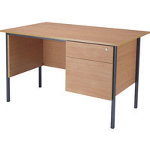 Initiative 1200mm 4 Leg Desk Single Pedestal 2 Drawer Beech