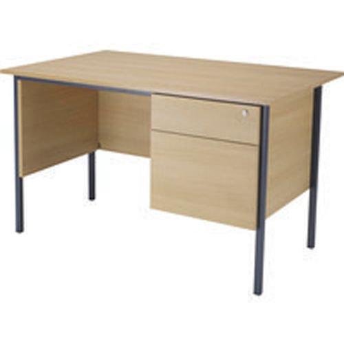 Initiative 1200mm 4 Leg Desk Single Pedestal 2 Drawer Oak
