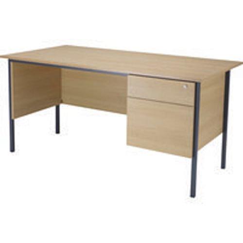 Initiative 1500mm 4 Leg Desk Single Pedestal 2 Drawer Oak