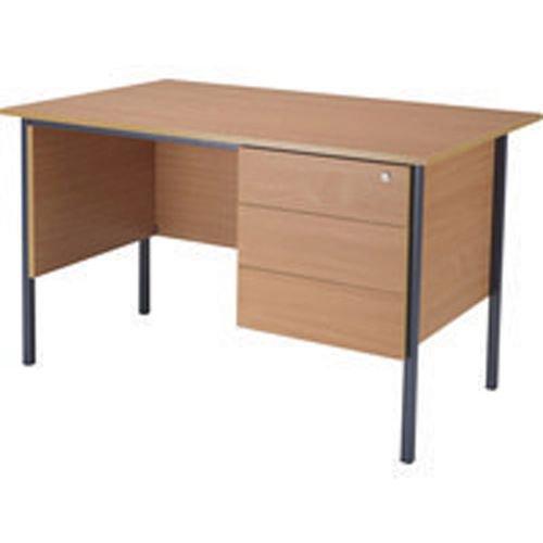 Initiative 1300mm 4 Leg Desk Single Pedestal 3 Drawer Beech