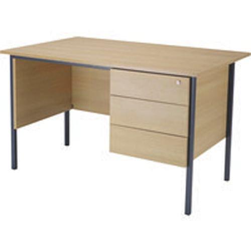 Initiative 1300mm 4 Leg Desk Single Pedestal 3 Drawer Oak