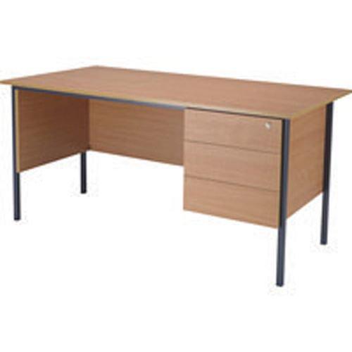 Initiative 1500mm 4 Leg Desk Single Pedestal 3 Drawer Beech