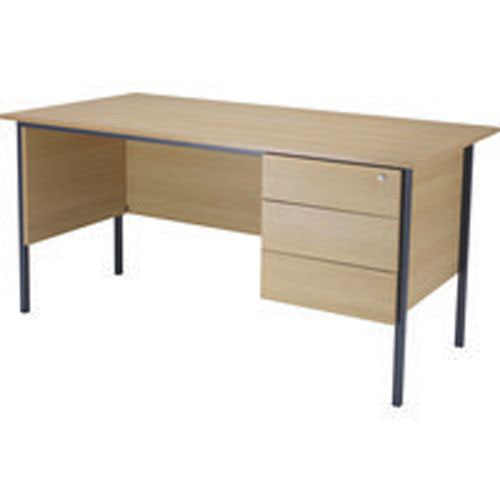 Initiative 1500mm 4 Leg Desk Single Pedestal 3 Drawer Oak