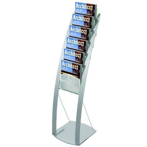 Deflecto Contemporary Floor Stand 6 Pocket Silver