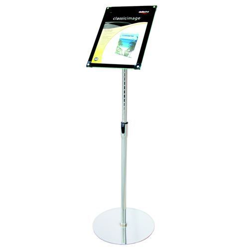 Deflecto Sign Holder with Bevel Magnetic Cover Floor-Standing Heavyweight H680-1060mm A4