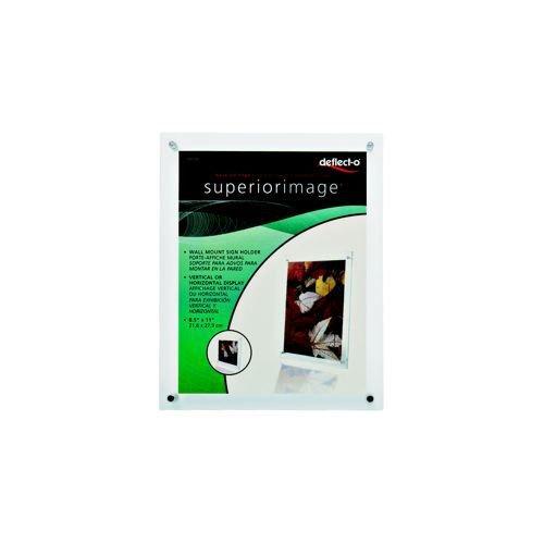 Deflecto Sign or Menu Display Holder Wall-mounted Bevelled Edge Acrylic 216x279mm