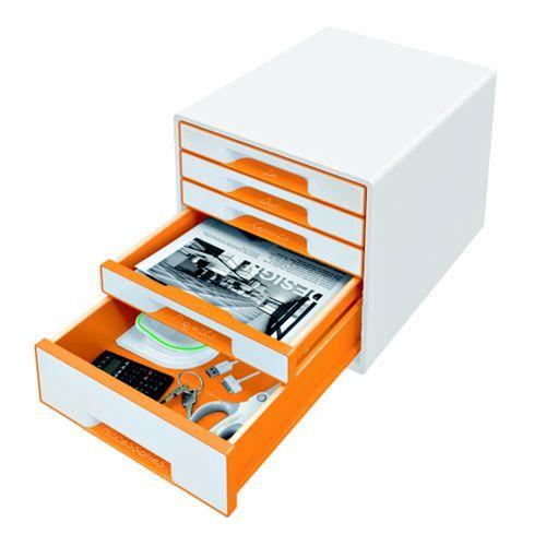 Leitz WOW Cube 5 Drawer Cabinet Orange