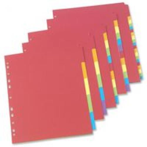 Concord Bright Subject Dividers Europunched 10-Part A4 Assorted