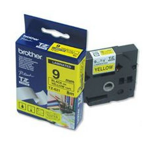 Brother P-Touch 9mm Black on Yellow TZE621 Labelling Tape