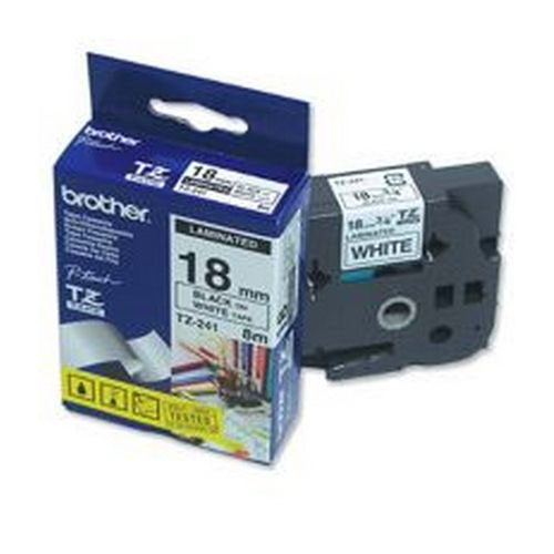Brother P-Touch Tape TZ-241 18mm Black/White