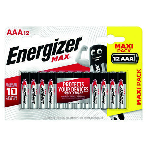Energizer MAX E92 AAA Batteries (Pack of 12) E300103700