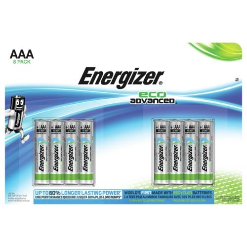 Energizer EcoAdvanced Alkaline AAA Batteries E92 (Pack of 8) E300116300